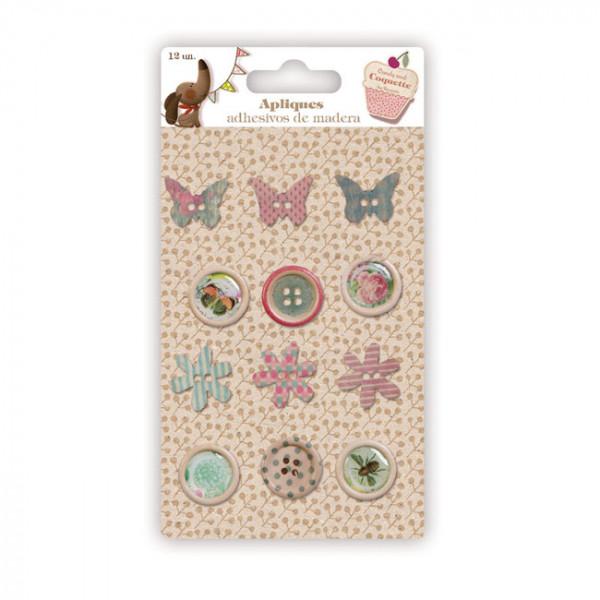 apliques y botones mariposas y flores