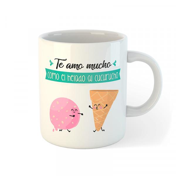 taza te amo mucho como el helado al cucurucho
