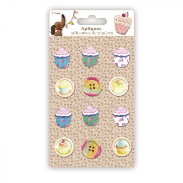 apliques y botones cupcakes